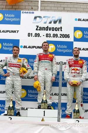 Podium: race winner Tom Kristensen with Bernd Schneider and Martin Tomczyk