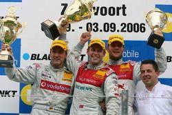 Podium: race winner Tom Kristensen Bernd Schneider and Martin Tomczyk