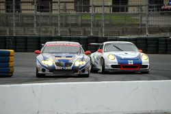 #65 TRG Pontiac GTO.R: Marc Bunting, Andy Lally, RJ Valentine, #74 Tafel Racing Porsche GT3 Cup: Eri
