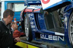 Team Oreca team members inspect the Saleen S7R