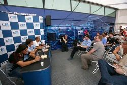 Press conference: Giorgio Pantano, Nelson A. Piquet and Lewis Hamilton