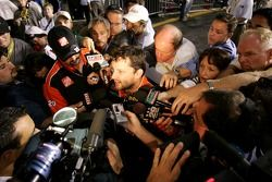 Tony Stewart responds to questions from the media after not making the chase