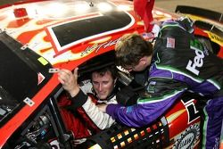 Kasey Kahne is congratulated by Denny Hamlin for making the chase for the Nextel Cup