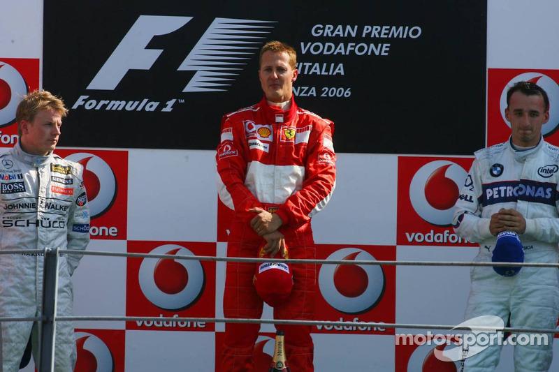 2006: 1. Michael Schumacher, 2. Kimi Räikkönen, 3. Robert Kubica