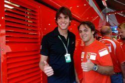 Felipe Massa et Kaka, joueur de footballe internationale de l'AC Milan et du Brésil