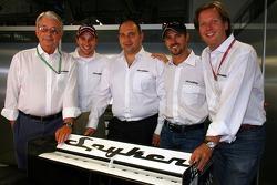 Spyker MF1 Racing press conference: Fred Mulder, Christijan Albers, Colin Kolles, Managing Director, Tiago Monteiro and Michiel Mol