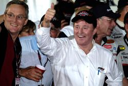 Richard Childress gives a thumbs up after Harvick wins