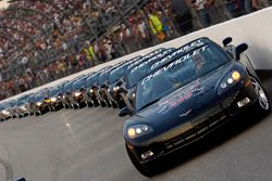 Chevy Corvettes line up to take drivers around track