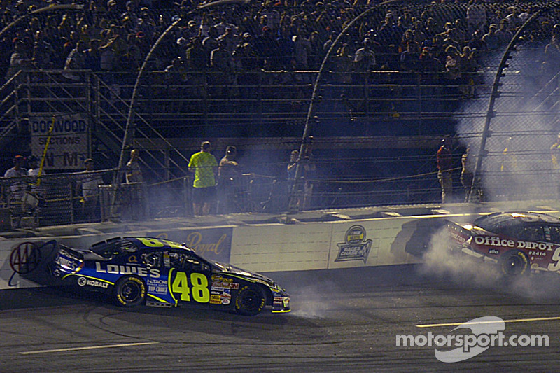 Jimmie Johnson and Carl Edwards in the wall