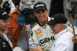 Race winner Graham Rahal celebrates