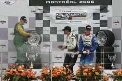 Podium: race winner Graham Rahal with Simon Pagenaud and James Hincliffe