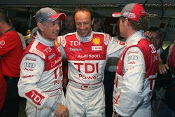 Pole winner Rinaldo Capello celebrates with Tom Kristensen and Marco Werner