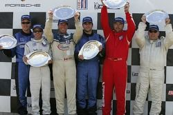 Podium: race winner Shawn Price with Dino Steiner, Kevin Roush, Dino Loles, Mark Webber and Kim Wolfkill