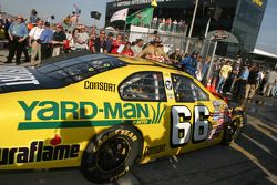 Ken Schrader heads to the garage