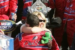 Victory lane: race winner Tony Stewart celebrates with team owner DeLana Harvick