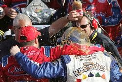 Victory lane: race winner Tony Stewart celebrates with team owner Kevin Harvick