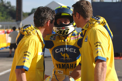 Valentino Rossi celebrates second place