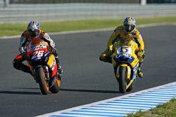 Dani Pedrosa, Repsol Honda Team; Colin Edwards, Yamaha