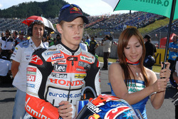 Casey Stoner on the starting grid