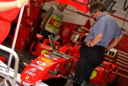 The FIA check the car of Michael Schumacher