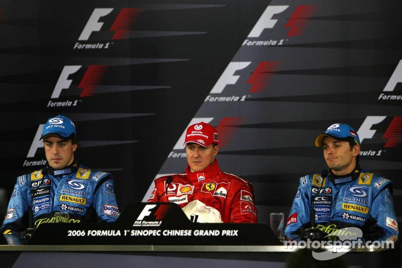 Conferencia de prensa: ganador de la carrera Michael Schumacher con Fernando Alonso y Giancarlo Fisichella