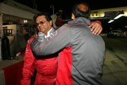 Dave Maraj celebrates win with Emanuele Pirro