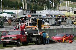 Crash pour la Ferrari 430 GT Berlinetta #62 Risi Competizione : Stéphane Ortelli, Ralf Kelleners, Markus Palttala