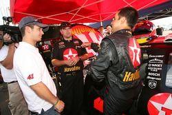 Juan Pablo Montoya discusses with Reed Sorenson