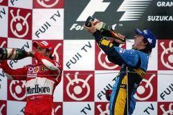 Podium: champagne pour Fernando Alonso and Felipe Massa