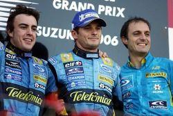 Podium: race winner Fernando Alonso, Giancarlo Fisichella, Frederic Lom