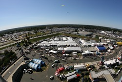 A view of the display and hospitality village at Lowe's Motor Speedway Charlotte