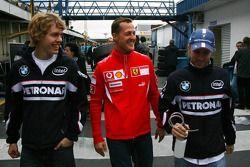 Sebastian Vettel, Michael Schumacher y Nick Heidfeld