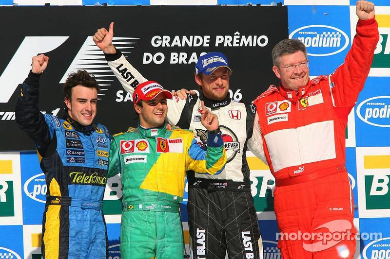 Podium: race winner Felipe Massa with 2006 World Champion Fernando Alonso, Jenson Button and Ross Brawn