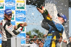 Podium: champagne for Fernando Alonso and Jenson Button