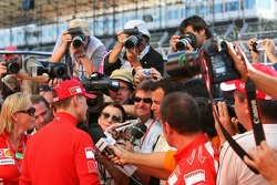 Michael Schumacher talks to the media about his emotions for his last Grand Prix
