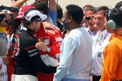 Ceremony for Michael Schumacher's retirement on the starting grid: Rubens Barrichello, Michael Schumacher and Pelé