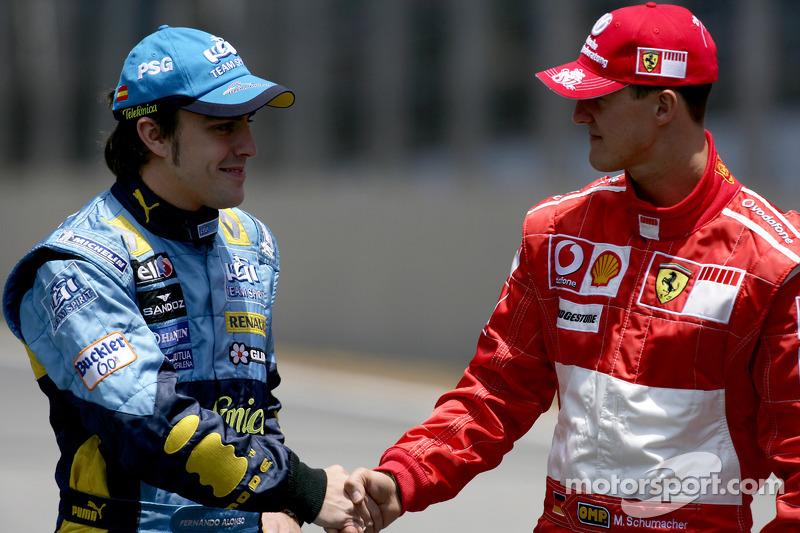Fernando Alonso bateu Schumacher em 2005 e 2006