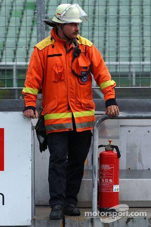 Local fireguard in the pitlane.
