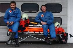Medical employees in the pitlane