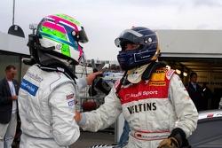 L'auteur de la pole Heinz-Harald Frentzen savoure avec Bruno Spengler