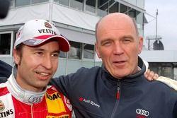 Pole winner Heinz-Harald Frentzen celebrates with Dr Wolfgang Ullrich