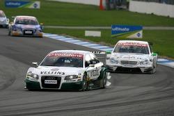 Heinz-Harald Frentzen mène la course devant Jamie Green