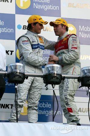 Podium : le vainqueur de la course Bruno Spengler et Tom Kristensen