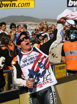 2006 MotoGP World Champion Nicky Hayden celebrates