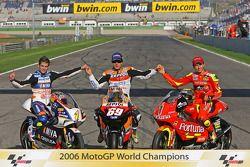 2006 MotoGP World Champions photoshoot: 125 champion Alvaro Bautista, MotoGP champion Nicky Hayden,