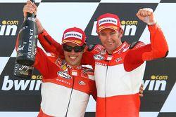 Podium: race winner Troy Bayliss with Loris Capirossi