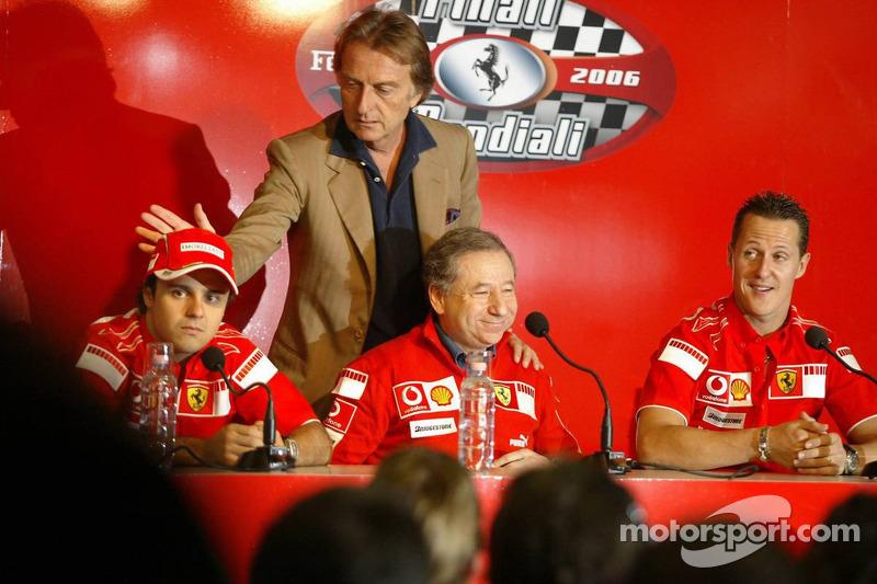 basın toplantısı: Felipe Massa, Jean Todt, Luca di Montezemolo ve Michael Schumacher