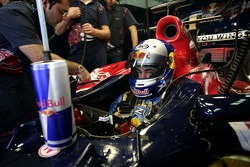 Race engineer Graziano Michelacci and John Hopkins in an STR1