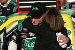 Victory lane: race winner Mark Martin celebrates