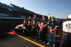 Texaco-Havoline Dodge crew members during National Anthem